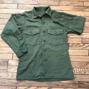 Army Surplus Green Button Down Shirt